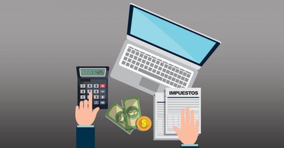 Dibujo de persona con billetes, computadora, calculadora y papel que dice impuestos