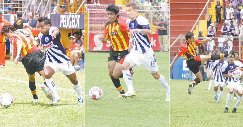 Jugadores de futbol en Costa Rica equipos Herediano y Saprissa partido 14 de setiembre 2009