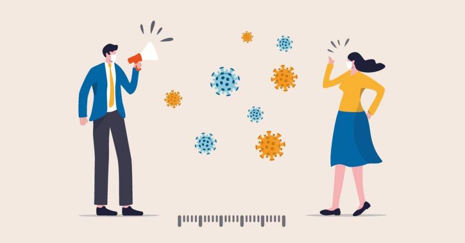ilustración de personas usando msacarilla, distanciadas y referencias de virus junto a ellos