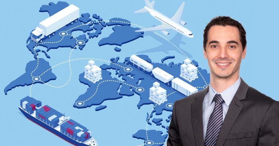 un hombre de saco y corbata sobre un fondo celeste y azul. Concepto de logística. Barcos, contenedores, aviones y cajas están colocados sobre un mapa.