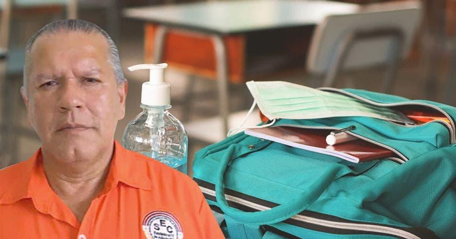 Gilberth Díaz. presidente del SEC y un fondo de pupitres con una mochila