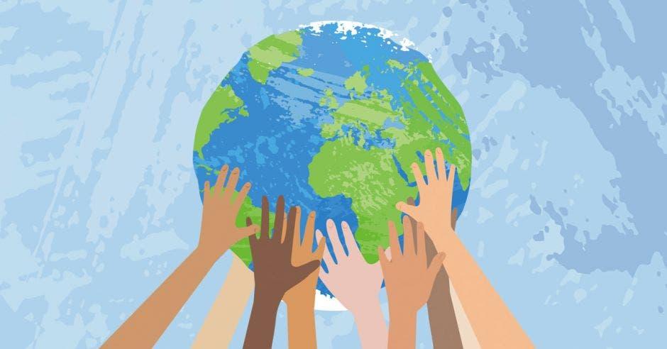 Ilustración de varias manos sosteniendo al planeta