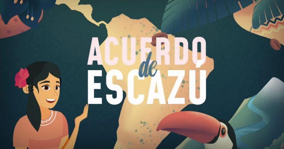 una mujer con un vestido colorido señala el mapa de Sudamérica. Un tucán de pico anaranjado le acompaña.