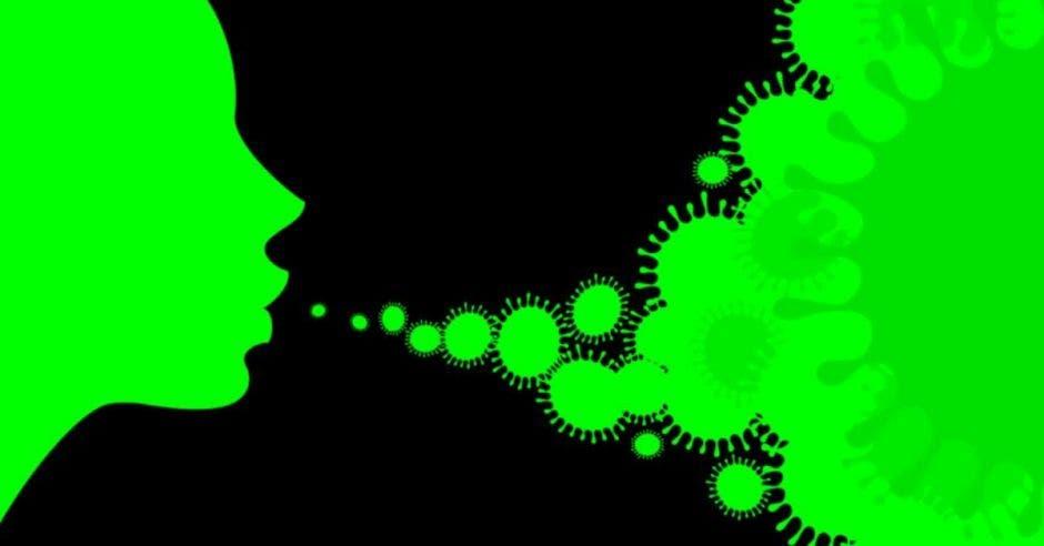 ilustración en verde de virus saliendo de la boca de una persona sobre fondo negro