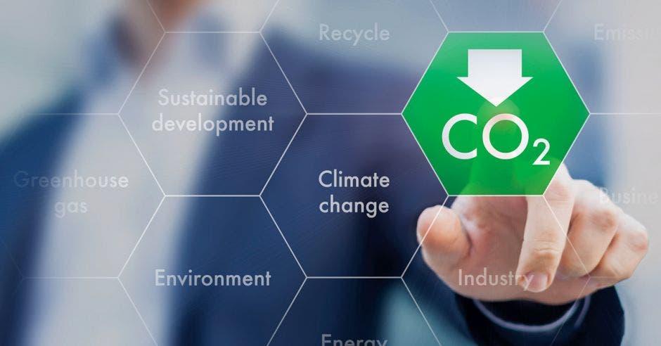 un hombre tocando el signo de emisiones de carbono CO2