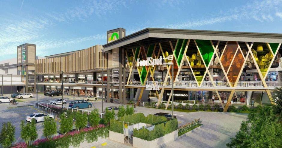 Render de un centro comercial en construcción. Food court con una fachada multicolor y detalles en madera