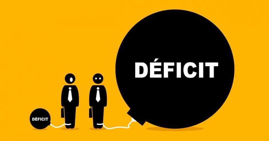 Personas de traje y globo que dice déficit