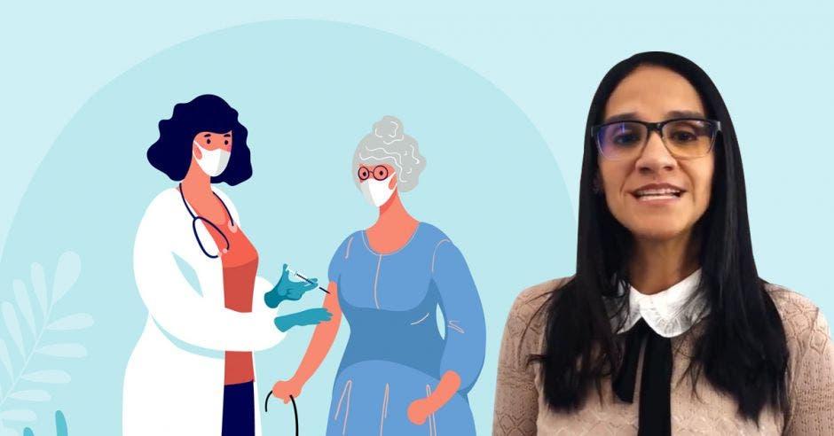 Leandra Abarca y un dibujo de una funcionaria de salud inyectando a una adulta mayor