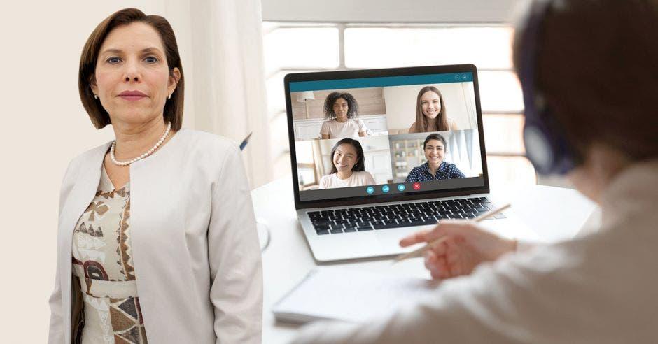 Lilly Sevilla y una imagen de una persona con una computadora
