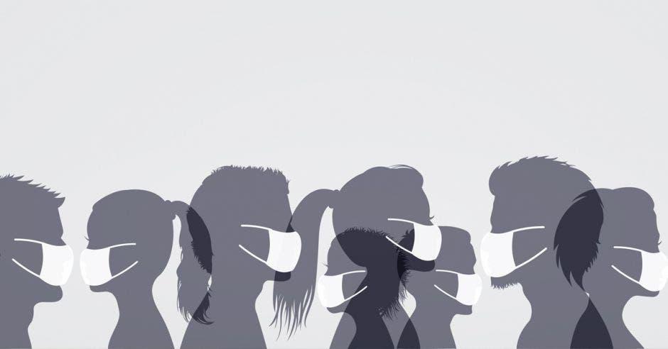 ilustración en gris de personas usando mascarilla