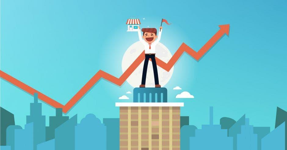 Un arte donde aparece una caricatura de un empresario con las manos levantadas en señal de triunfo