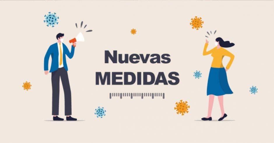 ilustración de hombre y mujer con mascarilla, junto a dibujos de virus y las palabras Nuevas Medidas en el centro