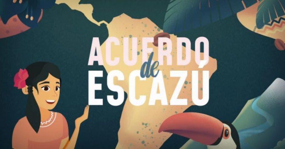 dibujo de mujer de cabello negro, flor en la cabeza y blusa rosa, mapa de Sudamérica y palabras Acuerdo de Escazú con un tucán abajo
