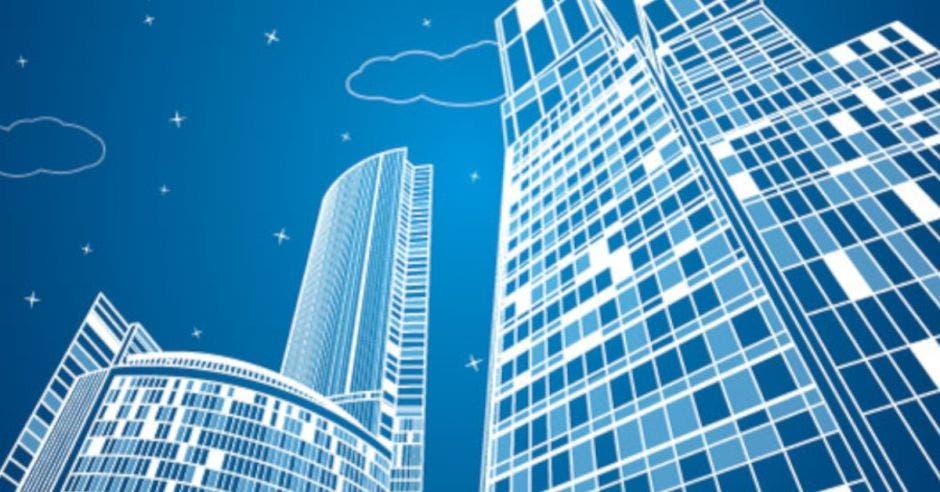 dibujo de edificios en fondo azul