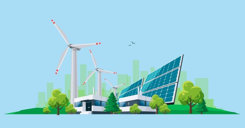 molinos, paneles y buses eléctricos que representan concepto de energías renovables
