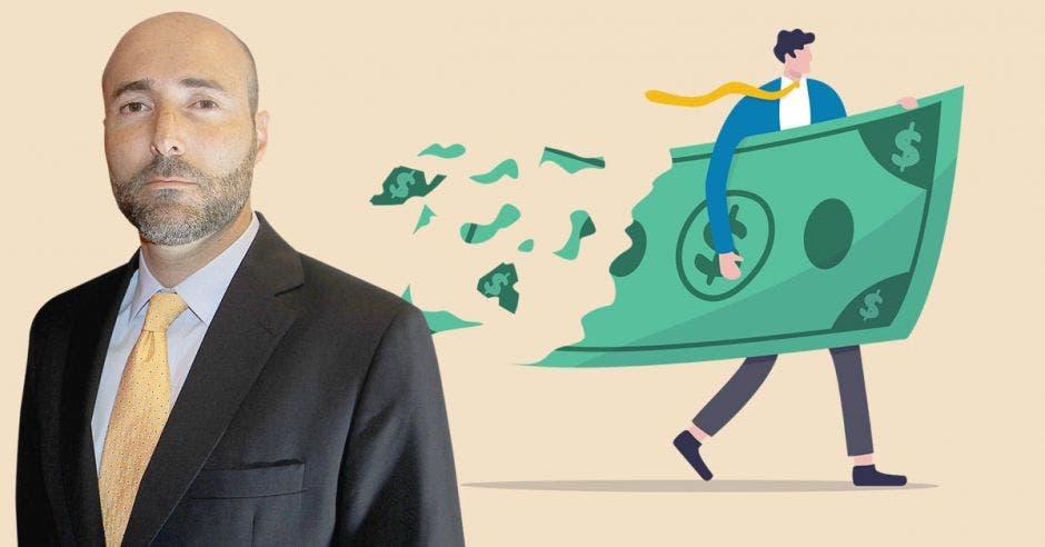 Hombre de traje frente a dibujo de un ejecutivo con billete volando a pedazos