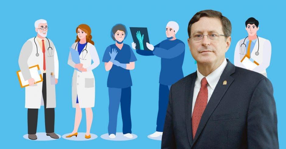Román Macaya y un dibujo de personal de Salud