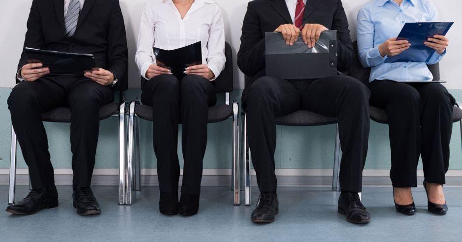 Personas sentadas en fila en sillas