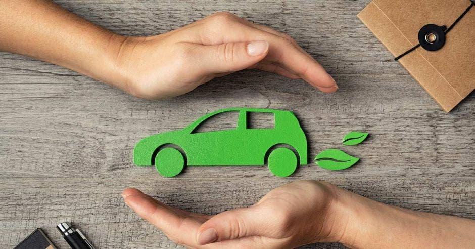 figura verde de automóvil entre manos en postura curva