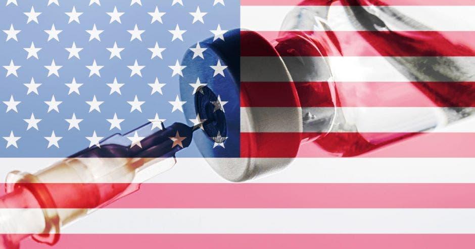 bandera de los Estados Unidos, dosis del vial de la vacuna, jeringa de la aguja, vacunación conceptual
