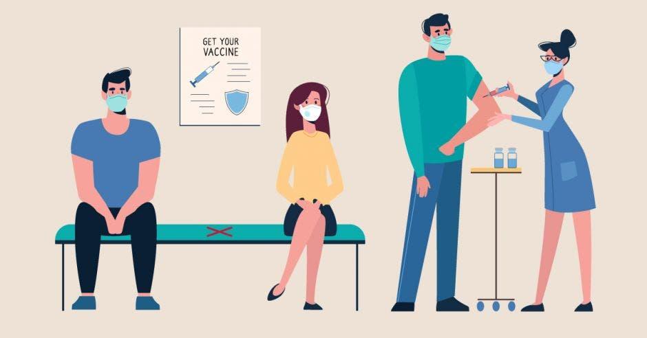 Un dibujo de unas personas haciendo fila por una vacuna