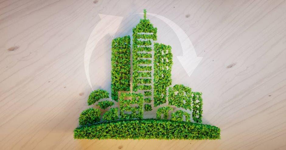 Un arte de edificio amigable construido con plantas