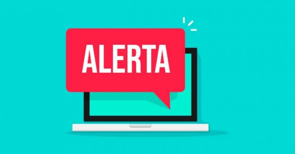 dibujo de laptop con nube de texto con la palabra ALERTA