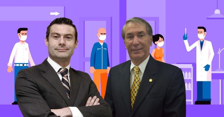 Massimo Manzi y Mauricio Guardia y un fondo de dibujo de gente haciendo fila para recibir una inyección