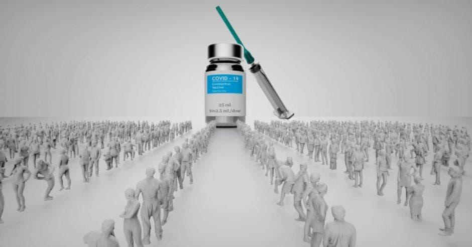 Una dosis de vacuna gigante y muchas personas haciendo fila