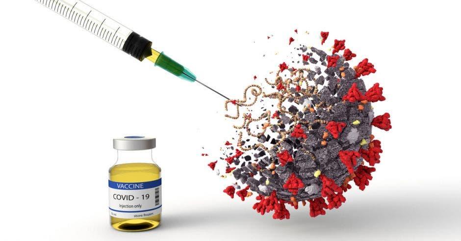 Un virus recibiendo una inyección y una dosis de vacuna contra Covid-19