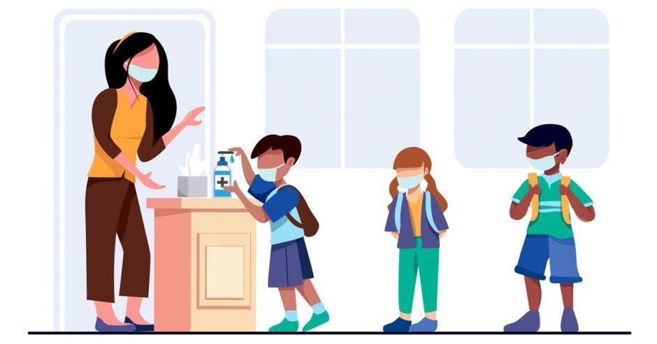 Un dibujo de una docente y unos niños