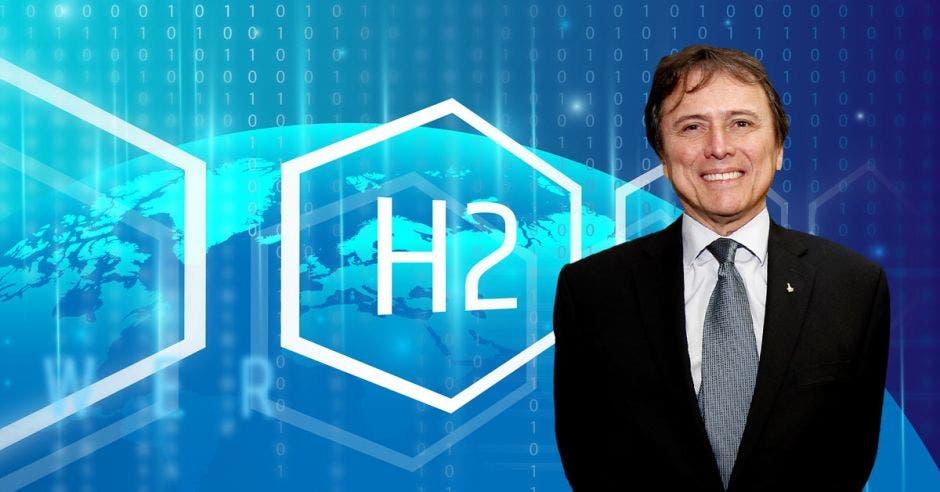 un hombre de saco y corbata sonriendo sobre un fondo azul que dice H2