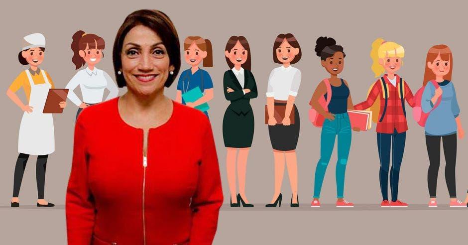Mujer de rojo frente a dibujo de otras mujeres