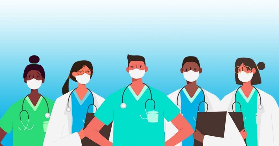 Un dibujo de varios médicos