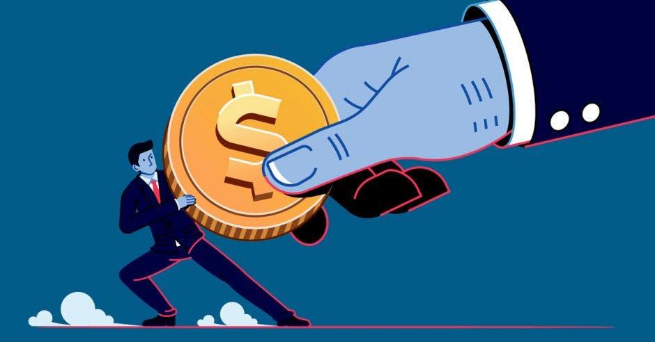 Empresario de dibujo sostiene moneda gigante de mano que quiere quitarla
