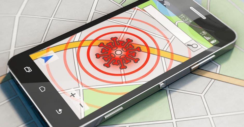 Un celular rastreando el Covid-19