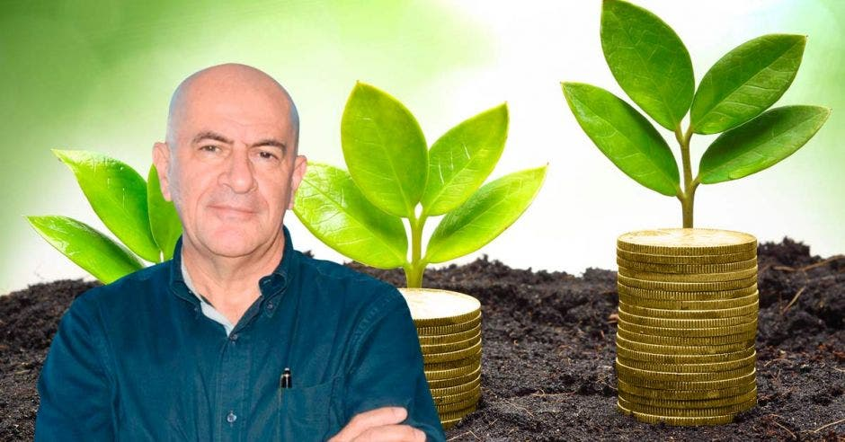 Hombre calvo frente a monedas y planta naciendo