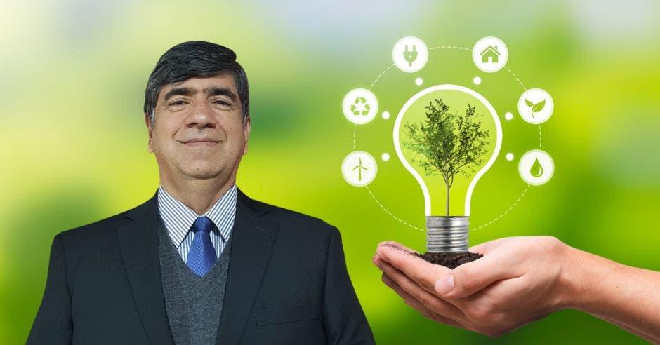 un hombre de saco y corbata sobre un fondo de energía renovable
