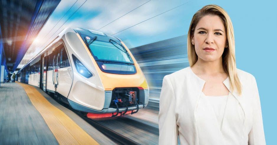 Elaboración propia con la primera dama Claudia Dobles en primer plano y un tren moderno de espalda