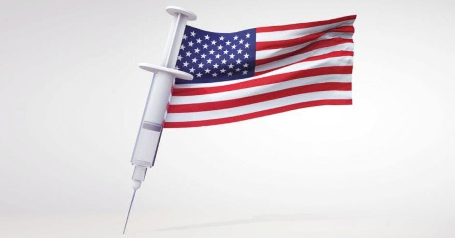 bandera de Estados Unidos con jeringa como asta