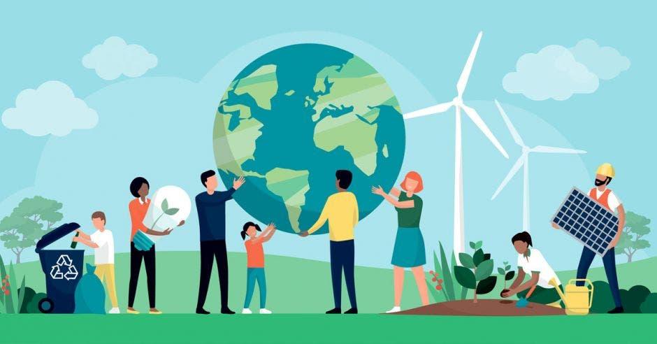 Grupo multiétnico de personas que cooperan para la protección del medio ambiente y la sostenibilidad en un parque: apoyan la tierra juntos, reciclan residuos, cultivan plantas y eligen recursos renovables