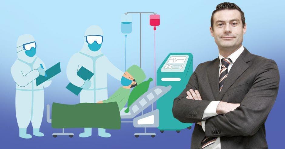Massimo Manzi y un dibujo de una cama de hospital