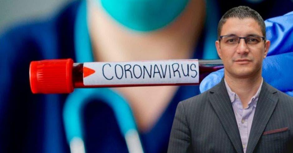 Daniel Salas al frente y un tubo de ensayo dice coronavirus