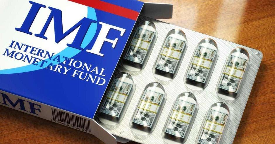 Billetes de dólar ejemplificadas como cápsulas de pastillas en paquete con logo del Fondo Monetario Internacional