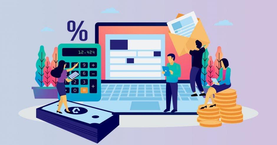 Personas en computadora, con monedas y billetes