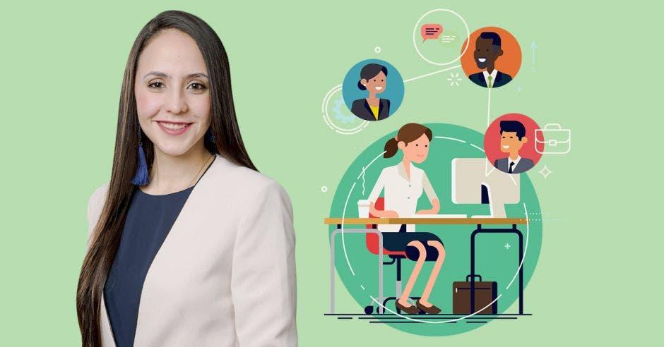 Mujer de pelo largo frente a persona en computadora