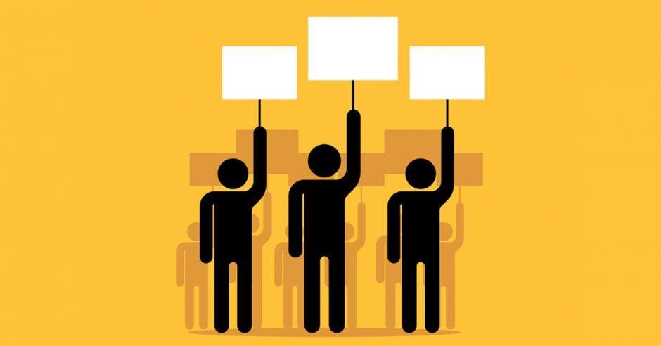 iconos de protesta sobre un fondo amarillo