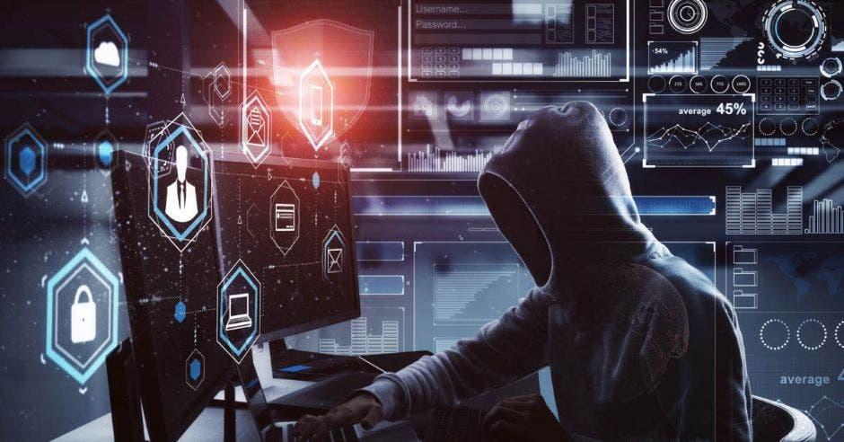 Hombre de capucha frente a computadora
