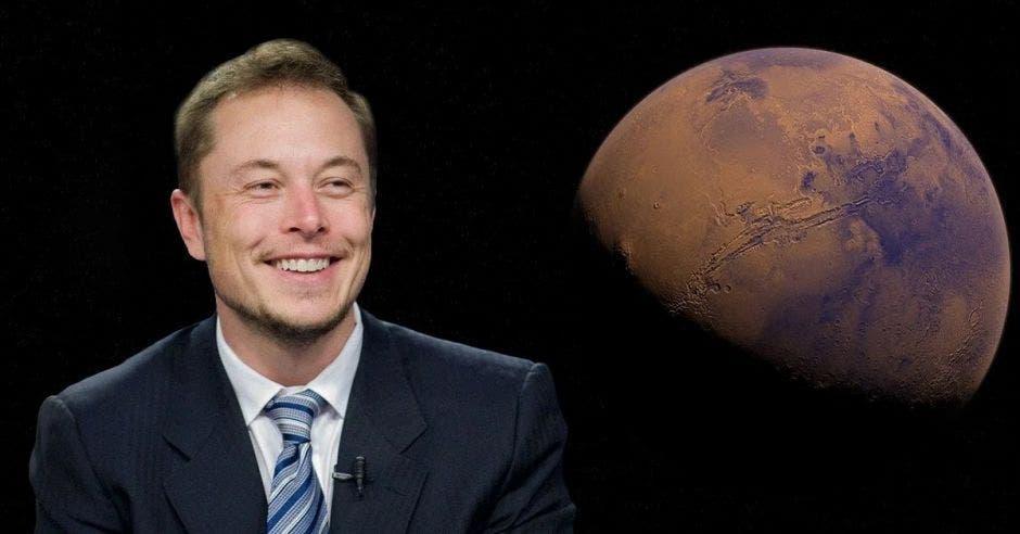 Cara de Elon Musk frente a planeta