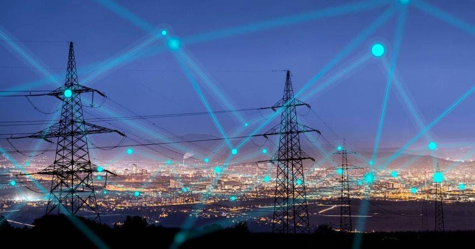 una serie de circuitos interconectados a través de torres de electricidad